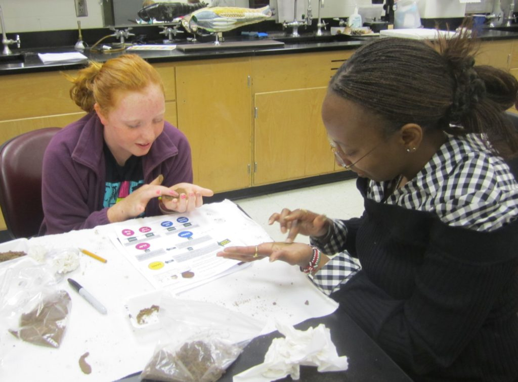 Students looking at soil texturing